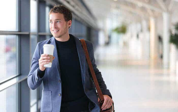 white man with coffee